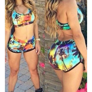 Sexy Print Scoop Neck Two-Piece Swimsuit For Women