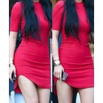 Sexy Round Collar Short Sleeve Solid Color Asymmetrical Bodycon Dress For Women red