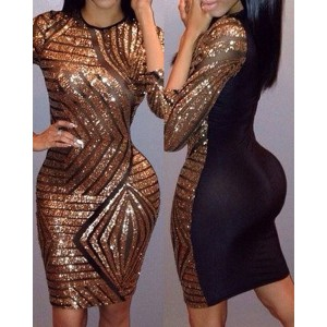 Sexy Round Neck 3/4 Sleeve Sequined Spliced Dress For Women