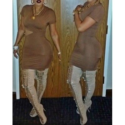 Sexy Round Neck Short Sleeve Hollow Out Solid Color Dress For Women brown