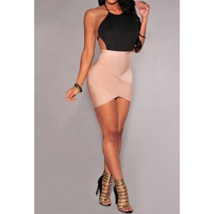 Sexy Round Neck Sleeveless Backless Asymmetrical Dress For Women