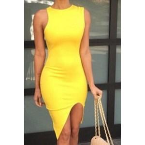 Sexy Round Neck Sleeveless Bodycon Furcal Dress For Women yellow