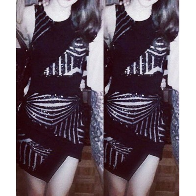 Sexy Round Neck Sleeveless Sequined Furcal Dress For Women black