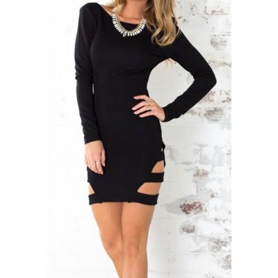 Sexy Scoop Collar Long Sleeve Solid Color Hollow Out Club Dress For Women black