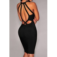 Sexy Scoop Collar Sleeveless Solid Color Hollow Out Bandage Dress For Women black