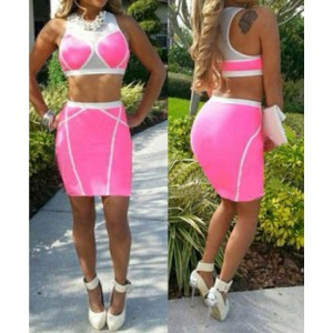 Sexy Scoop Collar Sleeveless Tank Top + High-Waisted Spliced Skirt Twinset For Women pink