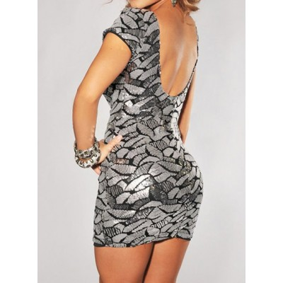 Sexy Scoop Neck Sequined Backless Beaded Dress For Women silver blue