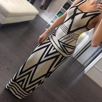 Sexy Scoop Neck Sleeveless Printed Maxi Dress For Women black gray