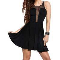 Sexy Scoop Neck Sleeveless See-Through Voile Spliced Dress For Women black