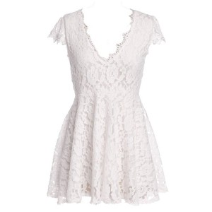 Sexy Short Sleeve Plunging Neck Solid Color Lace Dress For Women black white