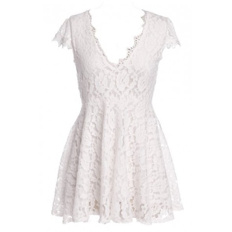 66e53c73ec Zoom. Sexy Short Sleeve Plunging Neck Solid Color Lace Dress For Women  black white