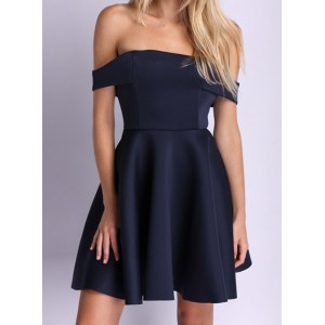 Sexy Slash Collar Sleeveless Solid Color Zippered Dress For Women purplish blue