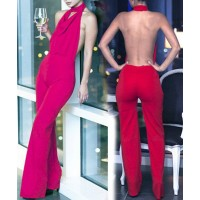 Sexy Solid Color Halterneck Jumpsuit For Women red