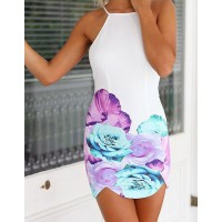 Sexy Spaghetti Strap Backless Floral Print Dress For Women white
