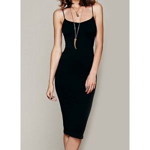 Sexy Spaghetti Strap Bodycon Solid Color Dress For Women black
