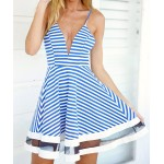 Sexy Spaghetti Strap Mesh Splicing Striped Dress For Women blue