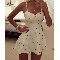 Sexy Spaghetti Strap Polka Dot Dress For Women white