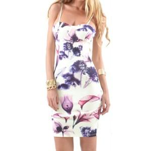 Sexy Spaghetti Strap Sleeveless Floral Print Furcal Dress For Women