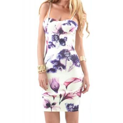 Sexy Spaghetti Strap Sleeveless Floral Print Furcal Dress For Women