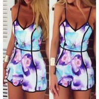 Sexy Spaghetti Strap Sleeveless Printed Low Cut Romper For Women