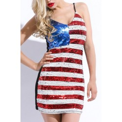 Sexy Spaghetti Strap Sleeveless Sequined Flag Pattern Dress For Women