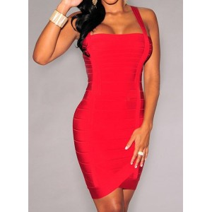 Sexy Spaghetti Strap Sleeveless Solid Color Bandage Dress For Women red