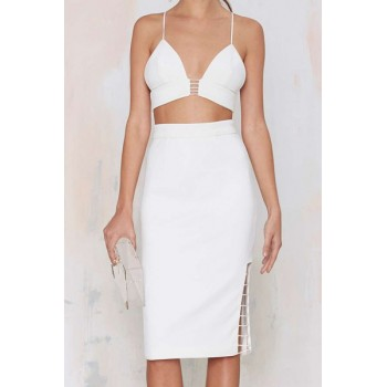 Sexy Spaghetti Strap Sleeveless Tank Top + High-Waisted Hollow Out Skirt Twinset For Women black white