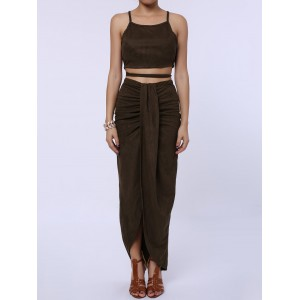 Sexy Spaghetti Strap Tank Top + High-Waisted Asymmetrical Skirt Twinset For Women