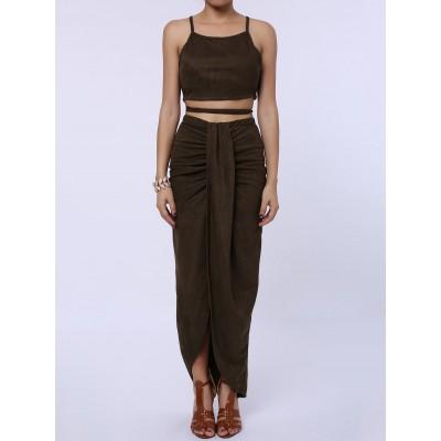 Sexy Spaghetti Strap Tank Top + High-Waisted Asymmetrical Skirt Twinset For Women