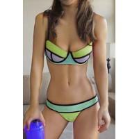 Sexy Style Spaghetti Strap Color Block Bikini Set For Women gray pink
