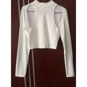 Sexy Turtle Neck Long Sleeve Hollow Out Slimming T-Shirt For Women white
