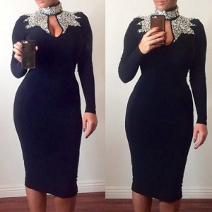Sexy Turtle Neck Long Sleeve Hollow Out Spliced Dress For Women