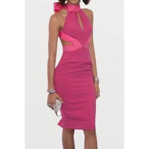 Sexy Turtleneck Sleeveless Backless Bowknot Embellished Dress For Women rose