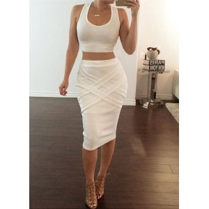 Sexy U-Neck Sleeveless Tank Top + Solid Color Bandage Skirt Twinset For Women white gray
