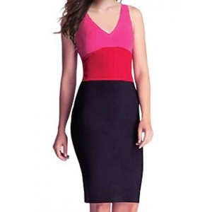 Sexy V-Neck Sleeveless Color Block Dress For Women black