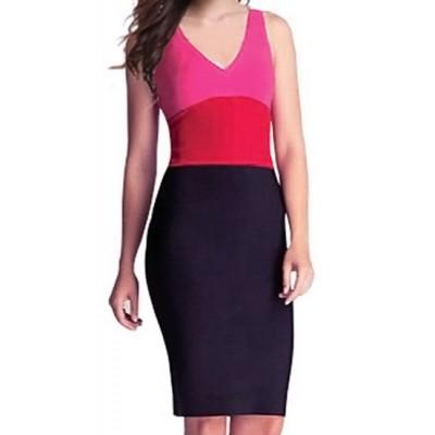 Sexy V-Neck Sleeveless Color Block Dress For Women black