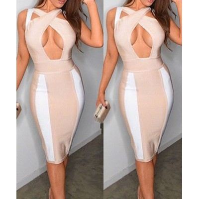 Sexy V-Neck Sleeveless Hollow Out Bodycon Dress For Women