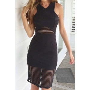Sexy V-Neck Sleeveless See-Through Striped Club Dress For Women black