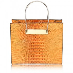 Sexy Women's Tote Bag With Crocodile Print and Metallic Design brown black blue yellow