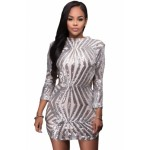 Silver Sequin Detail Open Back Party Mini Dress