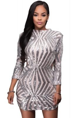 Silver Sequin Detail Open Back Party Mini Dress