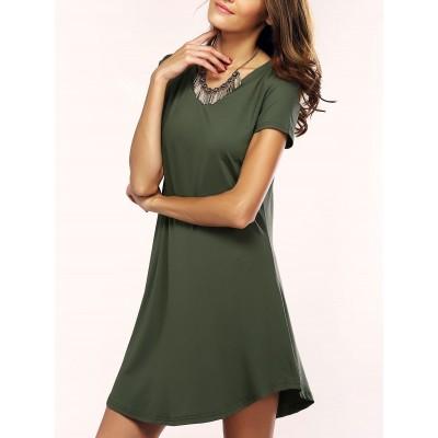 Simple Solid Color Asymmetric T-Shirt Dress For Women
