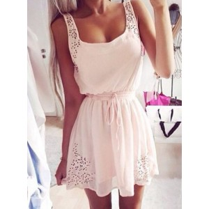 Simple Square Neck Sleeveless Waist Drawstring Solid Color Dress For Women light pink