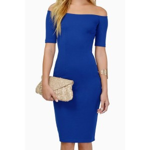 Slash Neck Short Sleeves Solid Color Sexy Dress For Women blue black purple