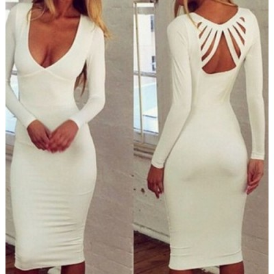 Solid Color Sexy Plunging Neck Long Sleeve Women's Dress white
