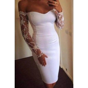 Strapless Long Sleeves Lace Splicing Elegant Dress For Women white