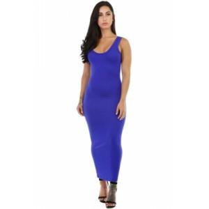 Stretchy Fit Long Sundress Blue Gray Rosy