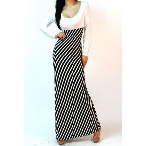 Stripe Print Stylish Scoop Neck Long Sleeve Maxi Dress For Women