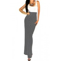Stripe Print Stylish Scoop Neck Sleeveless Maxi Dress For Women