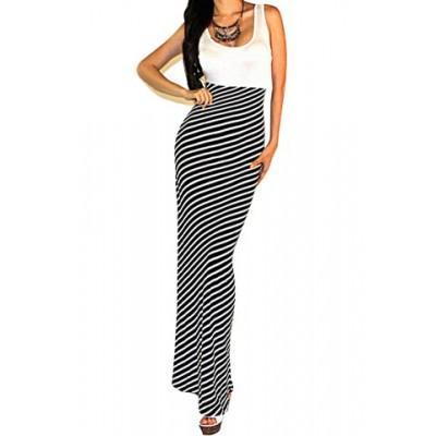 Stripe Print Stylish Scoop Neck Sleeveless Maxi Dress For Women